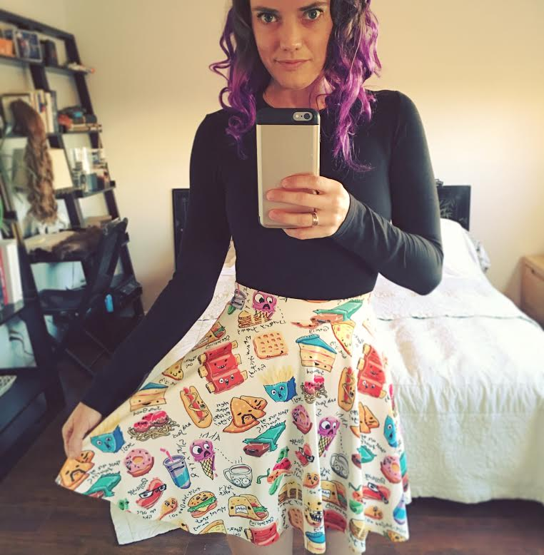 A skirt with food cartoons!